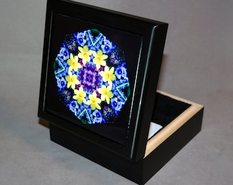 Music Box Trinket Box Daffodil Boho Chic Mandala New Age Sacred Geometry Hippie Kaleidoscope Mod Unique Gift For Her Sentimental Spring
