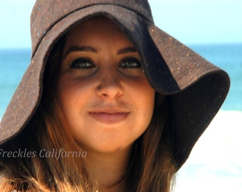 Brown Floppy Hat, Winter Hat in Wool Blend or Cotton by Freckles California