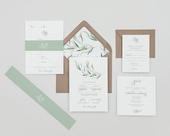 Rustikale Grün Hochzeit Einladungen, Eukalyptus Grün Einladungen, Grün  Winter Hochzeit Lädt, Eukalyptus Grün Spring Wedding