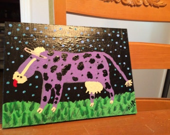 PURPLE COW ~ ORIGINAL painting Reduced 1/2 price