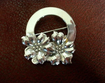 Vintage Signed Sterling Silver Corcle Pin Brooch with Flower Accents JK Co.