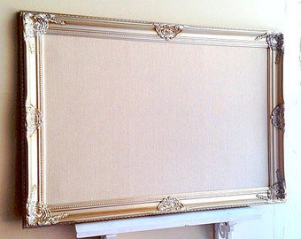 Wedding SEATING CHART Cork Board Pinboard Seating Cards Display Champagne Linen Pinboard Vintage Silver Gold Wedding Frame Fabric Corkboard