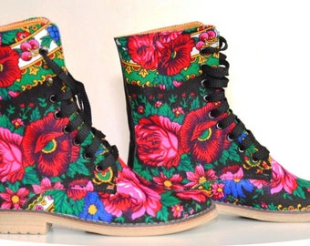 SALE Flower Lace up Urban Boots in canvas flower print Platok ethnic fabric Urban boots  Order your Custom size
