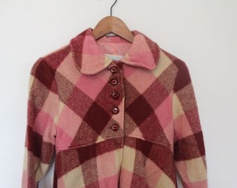 60s dreamy pink plaid babydoll swing jacket size XS