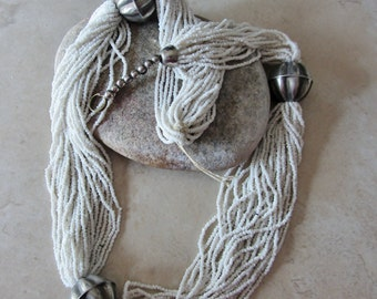 Southwestern Heishi Necklace,  White Heishi Multi-strand Beaded Necklace, Silver Plate Beads