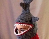 Shark Hat , Shark Ski Mask ,Face Mask , Crochet Shark Mask
