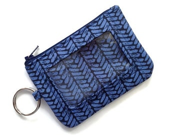 ID Holder w/Keychain/Student Id Badge Holder/Card Wallet/Keychain Coin Purse/Zipper Id Case/Herringbone Cotton and Steel Blue Navy