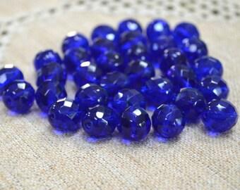 40pcs Fire-Polished Light Cobalt Blue 10mm Bead Czech Glass Faceted Round