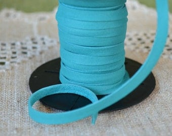 50 Foot 5mm Deertan Leather 3/16-inch Soft Turquoise Blue Cord Lace