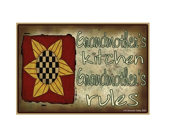 "Grandmother's Kitchen, Grandmother's Rules Sunflower Funny Grandmother Fridge Refrigerator Magnet 3.5"" X 2.5"""