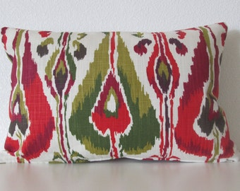 Robert Allen Ikat Bands Fuchsia ivory red green colorful decorative pillow cover