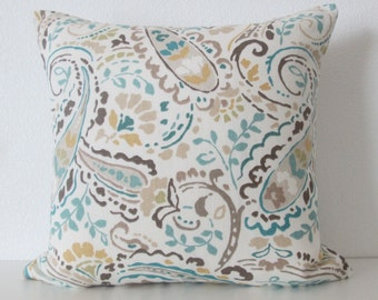 Thom Filicia Tousey Pool paisley turquoise blue citrine brown ikat designer pillow cover