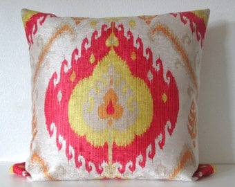 Samarkand Tomotao colorful red yellow orange velvet ikat decorative pillow cover