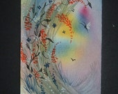 butterfly fantasy art painting original watercolour aceo ref 222