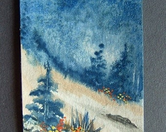 art painting aceo ATC original watercolour ref 345