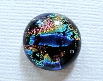 Dichroic Glass Cabochon 15 mm Multicolor Swirl