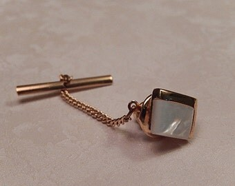 Mother of Pearl Tie Tack, Vintage Tie Tack, Men's Accessories, Gift for Him