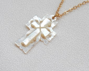 Vintage Cross, Necklace, Mother of Pearl Cross, Gift for Her