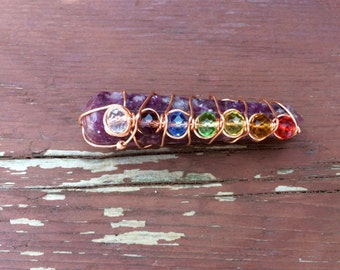 7Chakra Lilac Lepidolite Wand / Gemstone Wand / Feng Shui /Meditation / Chakra Balancing / Reiki