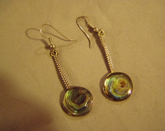 Vintage Signed Mexico Sterling Silver Abalone Shell Pierced Earrings Eagle Mark 8350