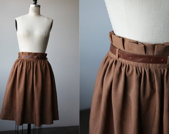 Vintage Brown Full Skirt Knee Length with Matching Belt High Waist S