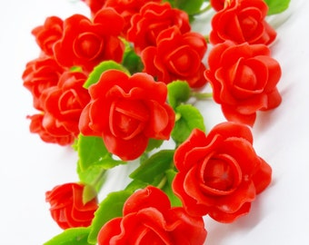Miniature Roses Polymer Clay Flowers Supply for Christmas Gifts 12 pieces