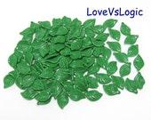 50 Leaf Opaque Plastic Charms. Dark Green 01