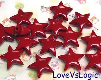 10 Huge Puff Star Acrylic Bead. Dark Red. 25mm