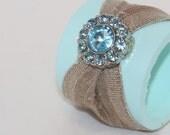 Wedding Napkin Rings Sea Breeze Blue Gold Burlap Ribbon Crystals Wedding, Events, Parties