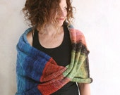 Barcelona Art knit scarf garden wrap, hands free knit throw blanket in super soft and chunky cotton, mohair, silk