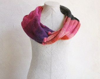 Berry Ice machine knit infinity scarf, one of a kind color symphony, kid mohair and silk