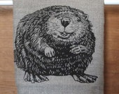 Neutral Linen Tea Towel, Beaver or Moose Screen Print Tea Towel, Kitchen Linens Made in Canada