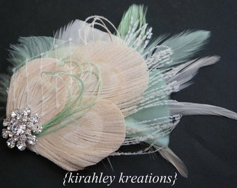 Champagne Ivory Mint Peacock Bridal Bride Bridesmaid Wedding Prom TARA Fascinator Headpiece Hair Clip Mint Green Feather Veiling Rhinestone