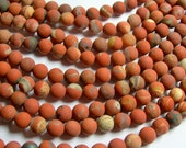 Red Jasper matte - 8mm round beads -  full strand - 48 beads - matrix red jasper matte - RFG747