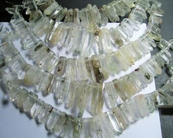 Lodolite Quartz points - top drilled - 28 pcs mix size - full strand - Lodolite - PSC205