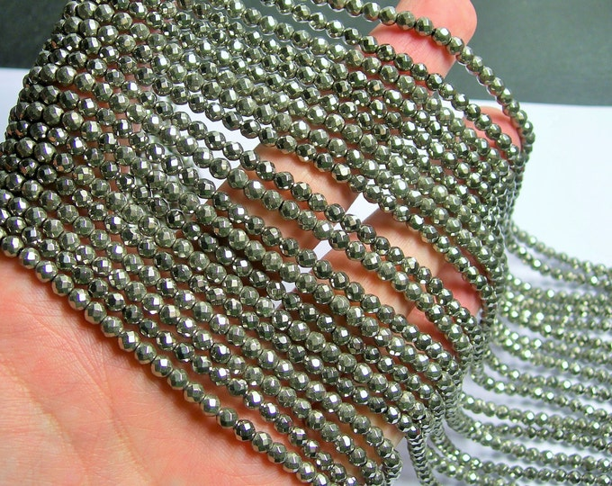 Hematite Silver - 4 mm faceted round beads - full strand - 103 beads - AA quality - PHG225