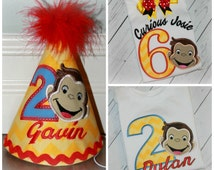 Boys or Girls CURIOUS GEORGE Birthday Shirt, Hat OR Top Monkey Yellow Chevron inspired Applique Bodysuit Pick Name, Colors and Number