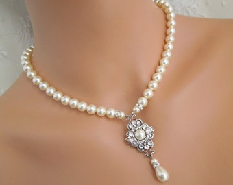 Backdrop Pearl Necklace,Bridal Necklace,Ivory or White Pearls,Pearl Bridal Necklace,Pearl Rhinestone Necklace,Bridal Necklace,Pearl,CLAUDE
