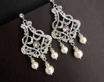 Pearl Earrings Bridal Rhinestone Earrings Swarovski Pearls Bridal Pearl Earrings Statement chandelier earrings  Wedding Pearl Earrings ALEXA