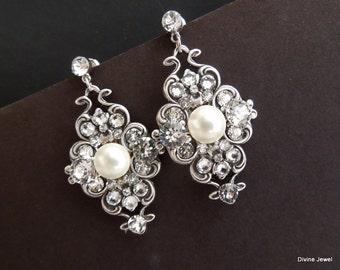 Pearl earrings, Pearl Wedding Earrings, Crystal Bridal Earrings, Swarovski Crystal Earrings, Bridal pearl and Rhinestone Earrings, CLAUDE