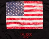 Guess USA American Flag Jacket by Georges Marciano, Black, Vintage 90s