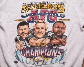 Pittsburgh Steelers AFC Champions Caricature Sweatshirt, Vintage 90s