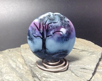 Lampwork Glass Focal Bead - handmade - Winter's Moonlight