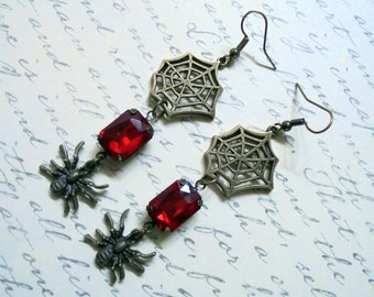 Crimson Red and Brass Halloween Spider and Web Earrings (3071)