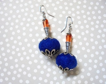 Funky Orange and Royal Blue Chunky Earrings (2310)