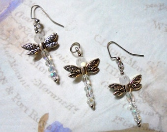 Crystal and Silver Dragonfly Pendant and Earrings (2673)