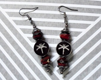 Maroon, Black and Silver Dragonfly Earrings (2679)