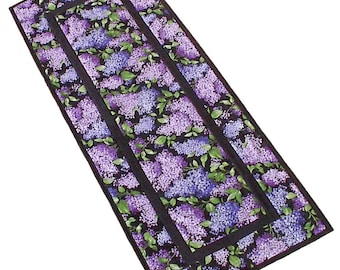 Purple Lilacs Table Runner, handmade floral  patchwork quilted 16 x 40