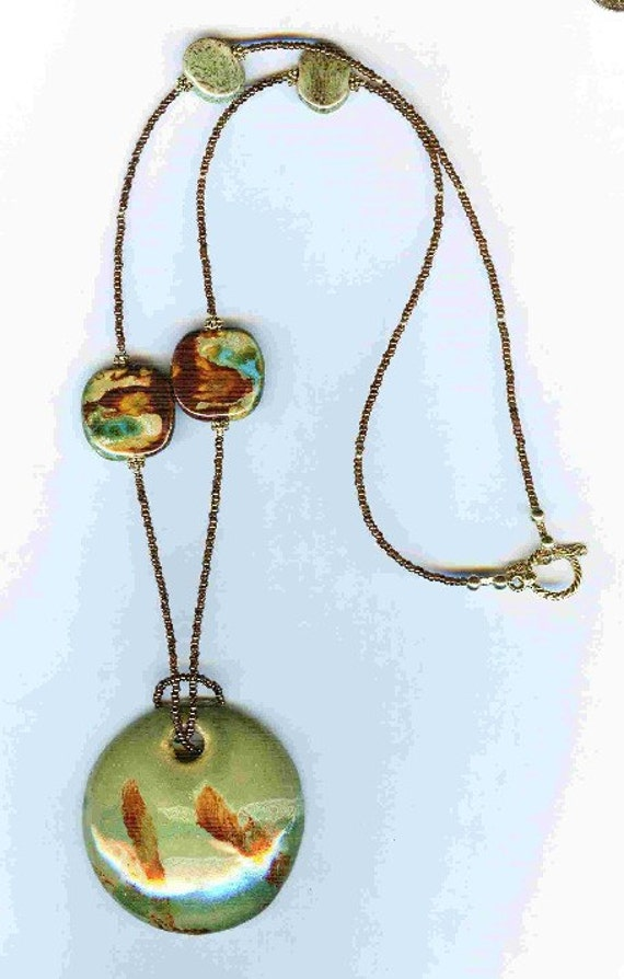 Green, Copper & A Touch of Turquoise Kazuri Bead One of a Kind SET!