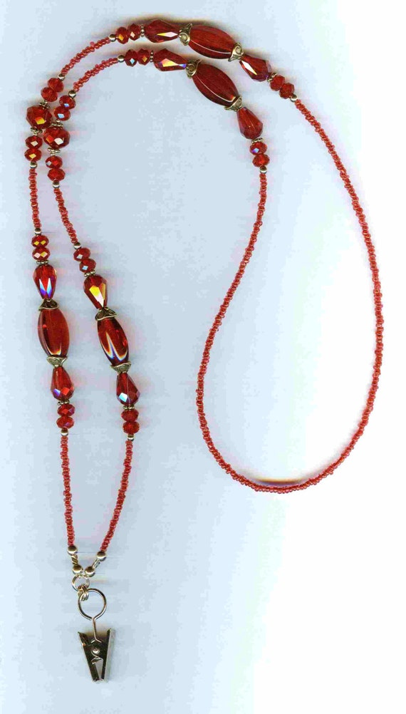 Monochromatic RED ID Badge Lanyard or Eyeglass Chain